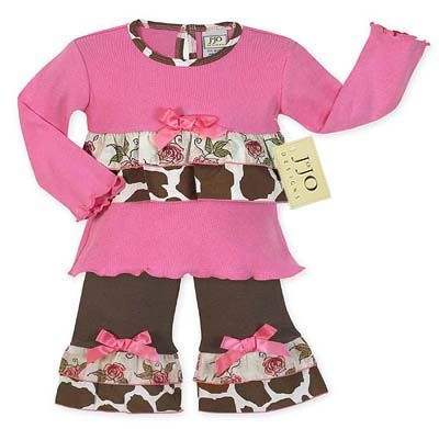 2pc Giraffe Print Baby Girls Outfit by Sweet Jojo Designs - Click to enlarge