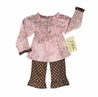 2pc Pink and Brown French Toile and Polka Dot Smocked Baby Outfit by Sweet Jojo Designs