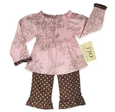 2pc Pink and Brown French Toile and Polka Dot Smocked Baby Outfit by Sweet Jojo Designs - Click to enlarge