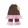 2pc Pink and Brown Polka Dot Baby Outfit by Sweet Jojo Designs