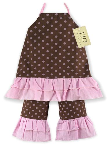 2pc Pink and Brown Polka Dot Baby Outfit by Sweet Jojo Designs - Click to enlarge