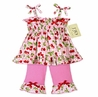 2pc Pink and Green Cherry Smocked Baby Outfit by Sweet Jojo Designs