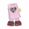 2pc Pink and Zebra Heart Baby Girl Outfit by Sweet Jojo Designs