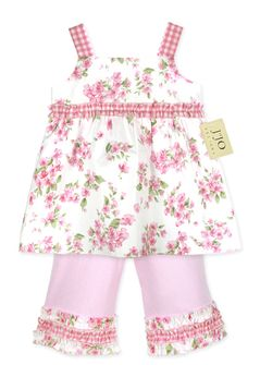 2pc Pink, Green and White Floral 2pc Baby Girls Outfit by Sweet Jojo Designs