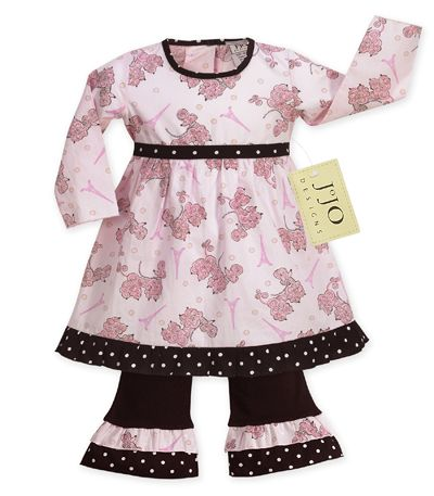 2pc Pink Paris Poodle & Polka Dot Boutique Baby Girls Outfit or Dress - Click to enlarge