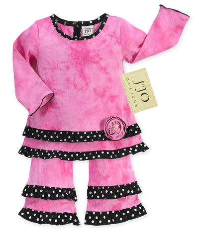 2pc Pink Tie Dye and Black/White Polka Dot Outfit by Sweet Jojo Designs - Click to enlarge