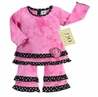 2pc Pink Tie Dye and Black/White Polka Dot Outfit by Sweet Jojo Designs