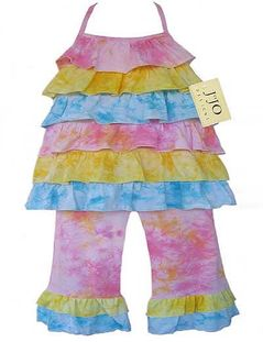 2pc Pink, Yellow and Blue Tie Dye Halter Outfit by Sweet Jojo Designs