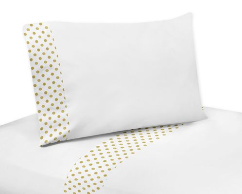 3 pc Gold and White Polka Dot Twin Sheet Set for Amelia Bedding Collection - Click to enlarge