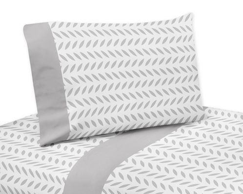 3 pc Grey and White Leaf Print Twin Sheet Set for Forest Deer and Dandelion Bedding Collection - Click to enlarge