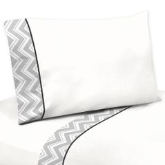 3 pc Twin Sheet Set for Black and Gray Chevron Zig Zag Bedding Collection by Sweet Jojo Designs