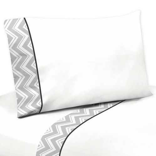 3 pc Twin Sheet Set for Black and Gray Chevron Zig Zag Bedding Collection by Sweet Jojo Designs - Click to enlarge