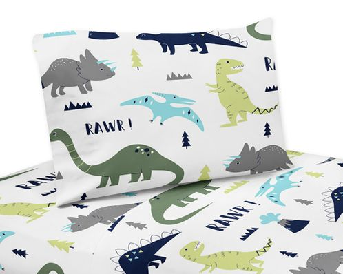 3 pc Twin Sheet Set for Blue and Green Mod Dinosaur Bedding Collection - Click to enlarge