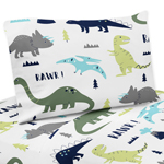 3 pc Twin Sheet Set for Blue and Green Mod Dinosaur Bedding Collection