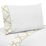 3 pc Twin Sheet Set for Gold, Mint, Coral and White Ava Bedding Collection