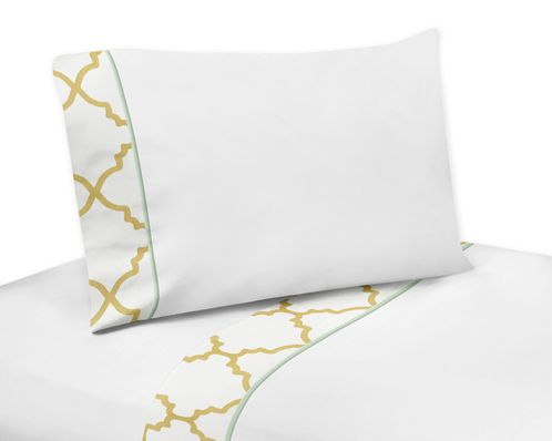 3 pc Twin Sheet Set for Gold, Mint, Coral and White Ava Bedding Collection - Click to enlarge