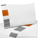 3 pc Twin Sheet Set for Gray and Orange Stripe Bedding Collection
