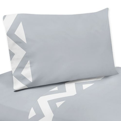 3 pc Twin Sheet Set for Gray and White Chevron Bedding Collection - Click to enlarge