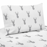 3 pc Twin Sheet Set for Grey and White Woodland Deer Bedding Collection