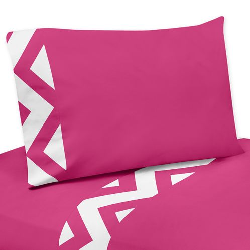 3 pc Twin Sheet Set for Hot Pink and White Chevron Bedding Collection - Click to enlarge