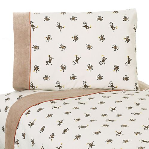 3 pc Twin Sheet Set for Monkey Bedding Collection - Click to enlarge