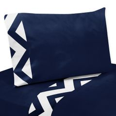 3 pc Twin Sheet Set for Navy and White Chevron Zig Zag Bedding Collection