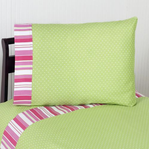 3 pc Twin Sheet Set for Olivia Pink and Green Bedding Collection - Click to enlarge