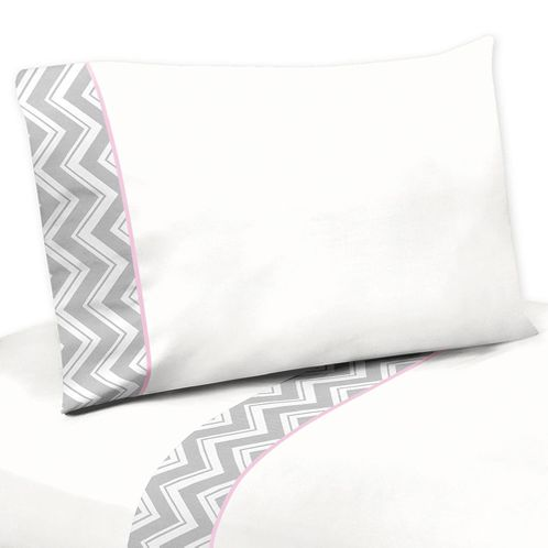 3 pc Twin Sheet Set for Pink and Gray Chevron Zig Zag Bedding Collection - Click to enlarge