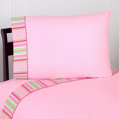 3 pc Twin Sheet Set for Pink and Green Jungle Friends Bedding Collection - Click to enlarge