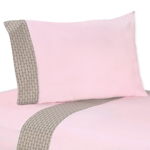 3 pc Twin Sheet Set for Pink and Taupe Mod Elephant Bedding Collection by Sweet Jojo Designs