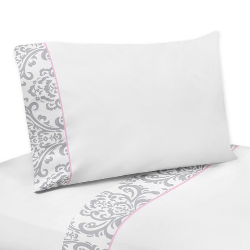 3 pc Twin Sheet Set for Pink, Gray and White Elizabeth Bedding Collection by Sweet Jojo Designs - Click to enlarge