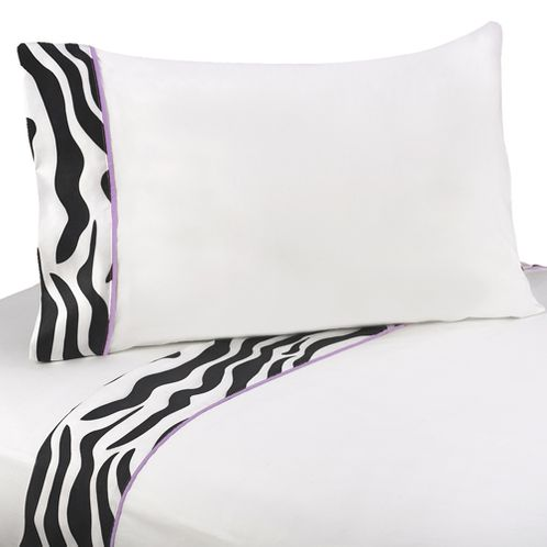 3 pc Twin Sheet Set for Purple Funky Zebra Bedding Collection - Click to enlarge