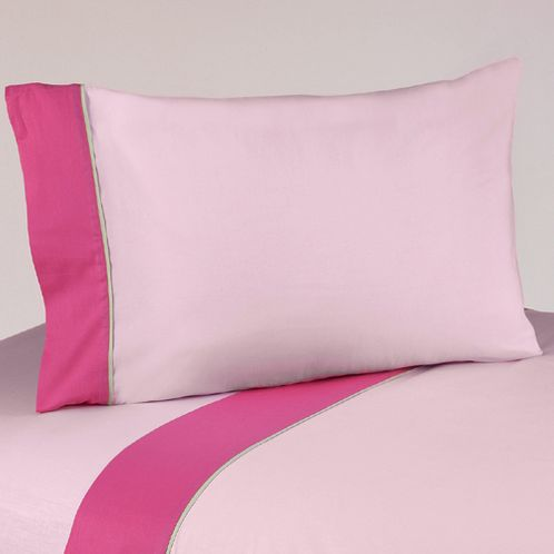 3 pc Twin Sheet Set for the Pink and Green Flower Bedding Collection - Click to enlarge