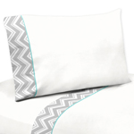 3 pc Twin Sheet Set for Turquoise and Gray Chevron Zig Zag Bedding Collection by Sweet Jojo Designs
