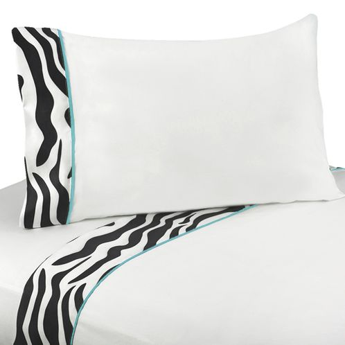 3 pc Twin Sheet Set for Turquoise Funky Zebra Bedding Collection - Click to enlarge