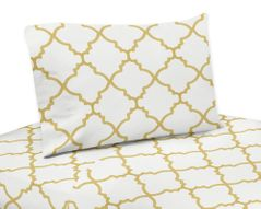 3 pc Twin Sheet Set for White and Gold Trellis Bedding Collection
