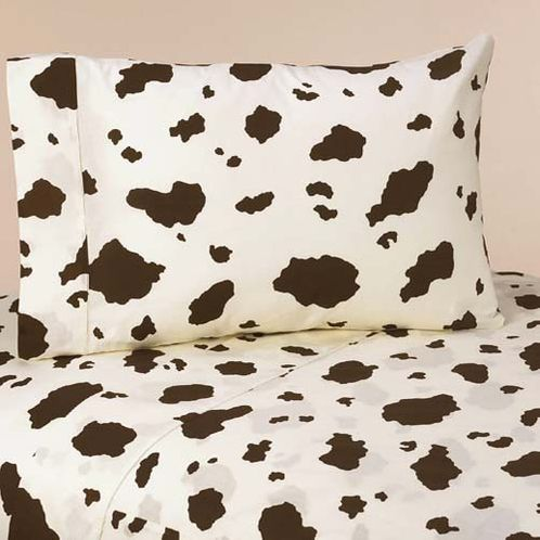 3 pc Twin Sheet Set for Wild West Cowboy Bedding Collection - Cow Print - Click to enlarge