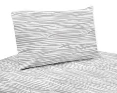 3 pc Wood Grain Print Twin Sheet Set for Grey and White Woodland Deer Bedding Collection