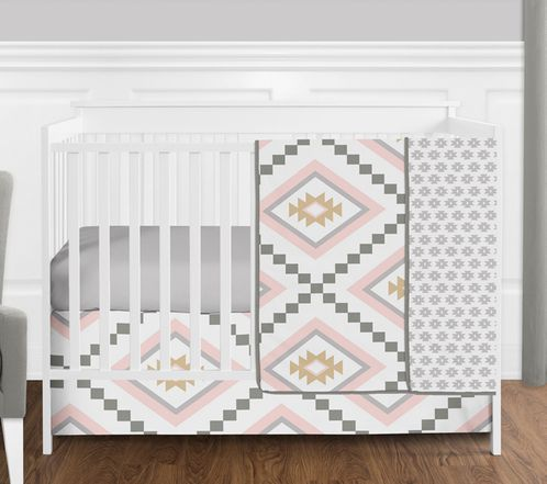 4 pc. Blush Pink and Grey Boho and Tribal Aztec Baby Girl Crib Bedding Set without Bumper by Sweet Jojo Designs - Click to enlarge