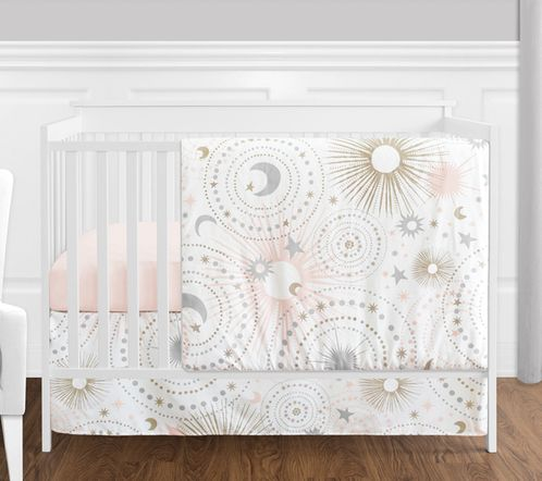 4 pc. Blush Pink, Gold, Grey and White Star and Moon Celestial Baby Girl Crib Bedding Set without Bumper by Sweet Jojo Designs - Click to enlarge