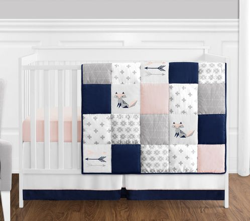 4 pc. Navy Blue, Pink, and Grey Patchwork Woodland Fox and Arrow Baby Girl Crib Bedding Set without Bumper by Sweet Jojo Designs - Click to enlarge