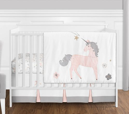 4 pc. Pink, Grey and Gold Unicorn Baby Girl Crib Bedding Set without Bumper by Sweet Jojo Designs - Click to enlarge