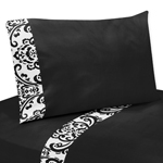 4 pc Queen Sheet Set for Black and White Isabella Bedding Collection