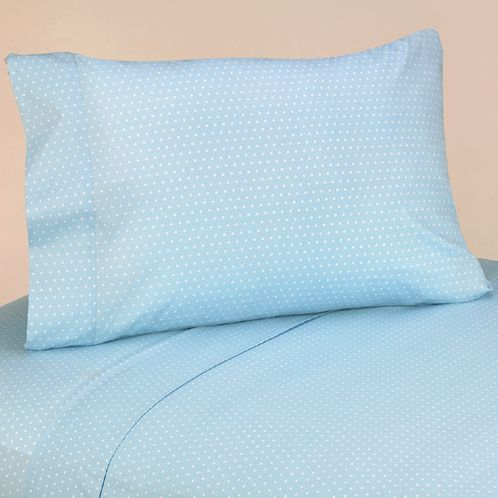 4 pc Queen Sheet Set for Blue and Brown Mod Dots Bedding Collection - Click to enlarge
