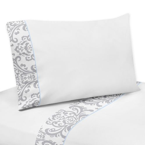 4 pc Queen Sheet Set for Blue and Gray Avery Bedding Collection by Sweet Jojo Designs - Click to enlarge