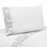 4 pc Queen Sheet Set for Blue and Gray Avery Bedding Collection by Sweet Jojo Designs