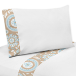 4 pc Queen Sheet Set for Blue and Taupe Hayden Bedding Collection by Sweet Jojo Designs