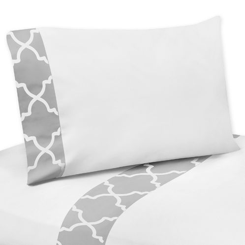 4 pc Queen Sheet Set for Gray and White Trellis Bedding Collection - Click to enlarge