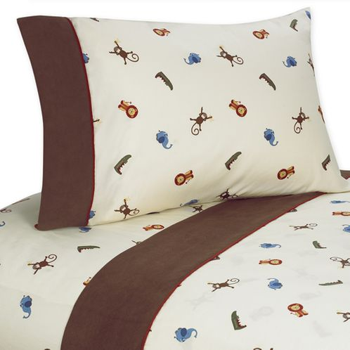 4 pc Queen Sheet Set for Jungle Time Bedding Collection - Click to enlarge