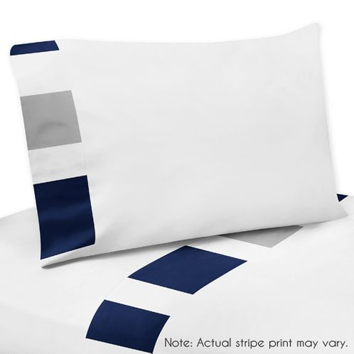 4 pc Queen Sheet Set for Navy Blue and Gray Stripe Bedding Collection - Click to enlarge